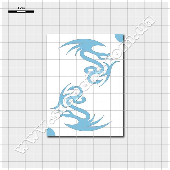 Трафарет стилізованого дракона №2